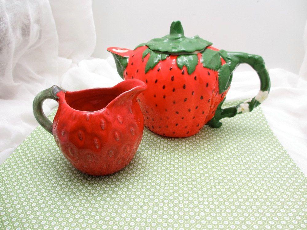 Vintage Strawberry Ceramic Creamer and Teapot | Vintage ...
