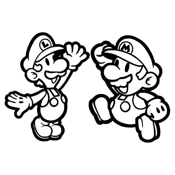 Mario And Luigi High Five In Mario Brothers Coloring Page : Color Luna Mario  Coloring Pages, Super Mario Coloring Pages, Coloring Pages