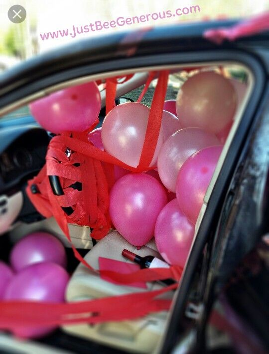 "8 Pink ""Happy Birthday "" balloons in limo.  Balloons then used for decorations and games at home too."