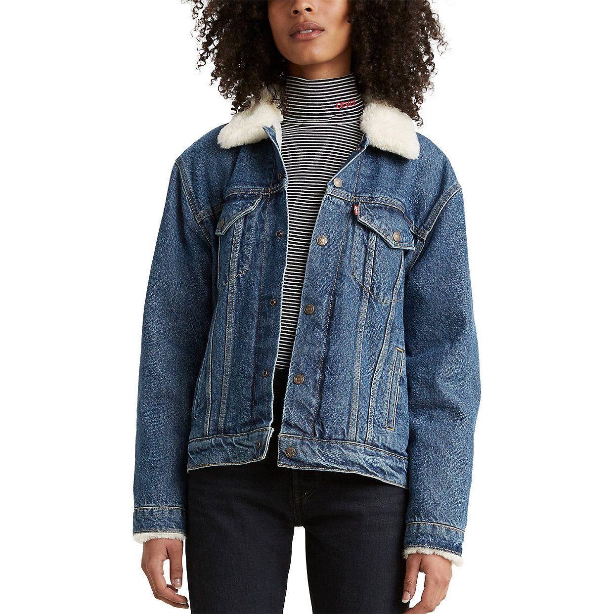 Women S Levi S Sherpa Lined Ex Boyfriend Trucker Jacket Jacket Outfit Women Denim Women Denim Jacket Trend [ 1242 x 1242 Pixel ]