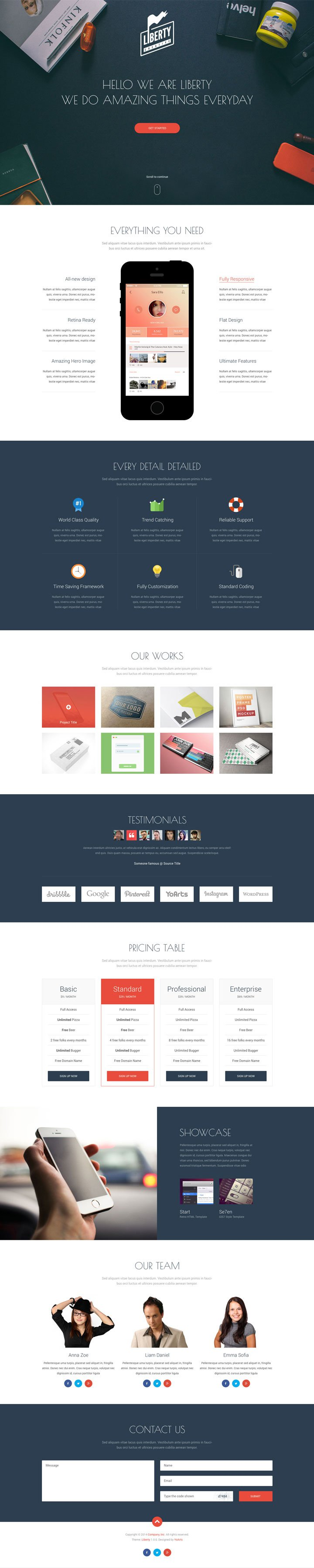 liberty free one page template psd freebies page template