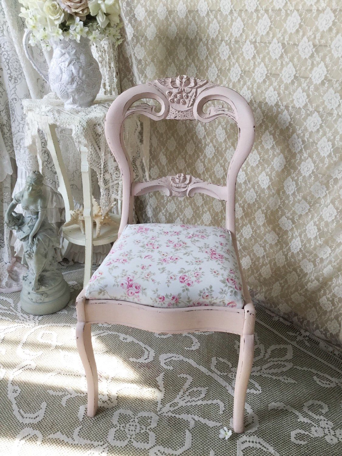 Shabby Pink Rose Chair,Blush Beauty,Vanity Chair, Shabby Chic ...