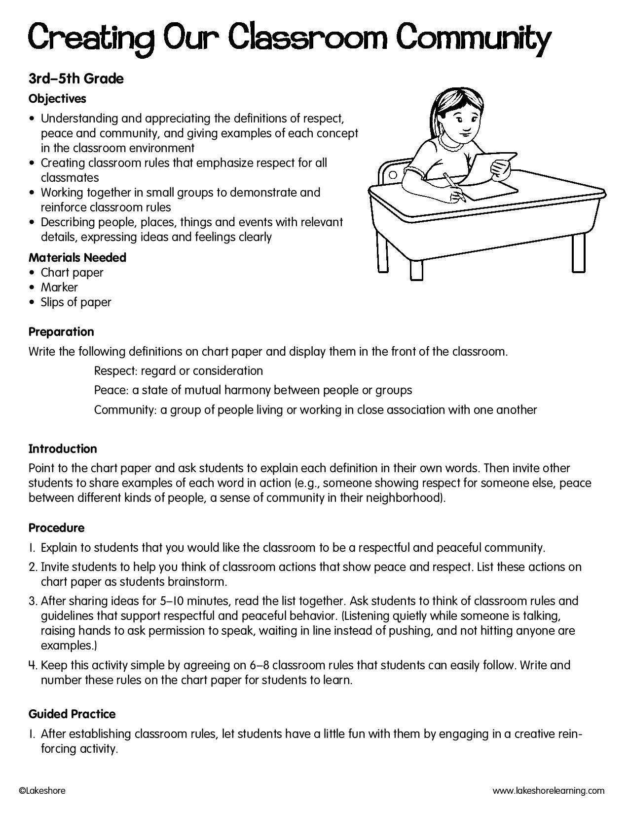 Creating Our Classroom Community Lessonplan Classroom