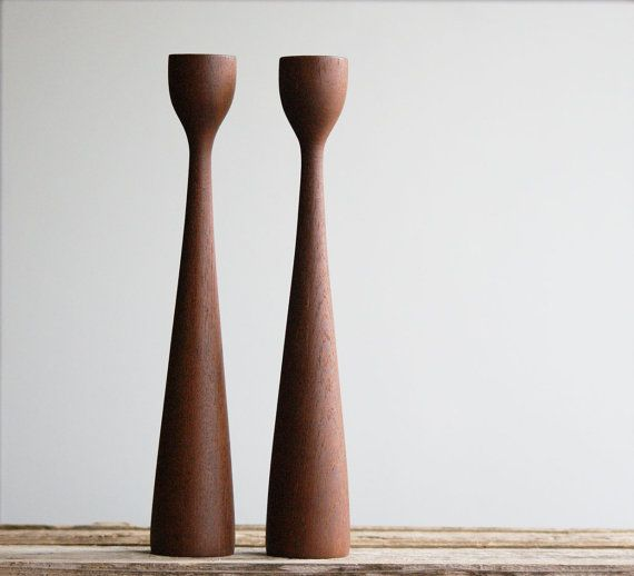 Mid Century Teak Candle Sticks Made in Denmark by susantique, $80.00