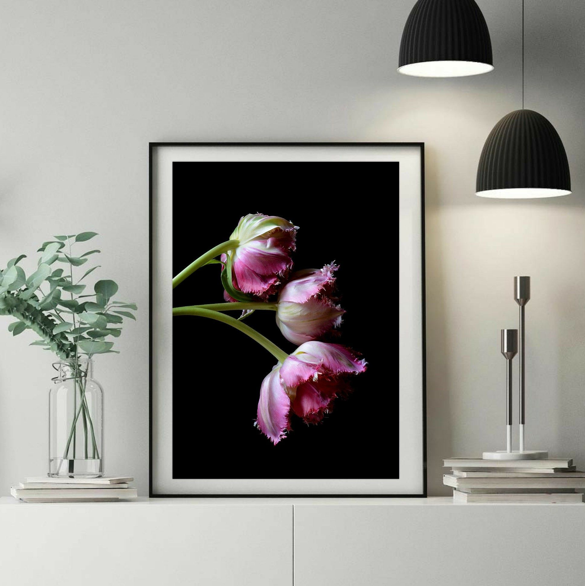 Dark Pink Purple Tulips FLOWERS FLORAL PHOTOGRAPHY ART PRINT Decor Wall Picture