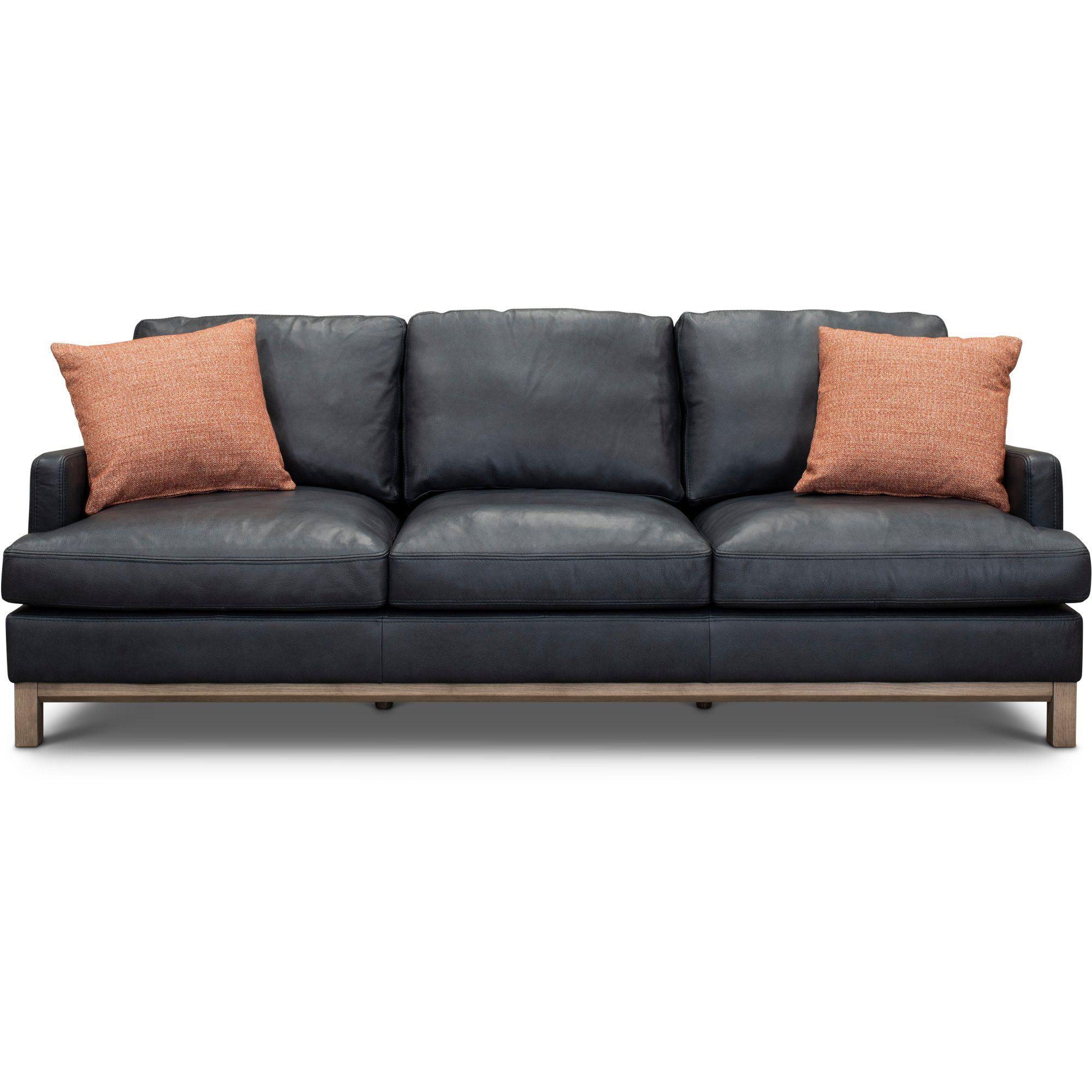Mid Century Modern Dark Blue Leather Sofa Westport Rc Willey Furniture Store Blue Leather Sofa Mid Century Leather Sofa Modern Leather Sofa
