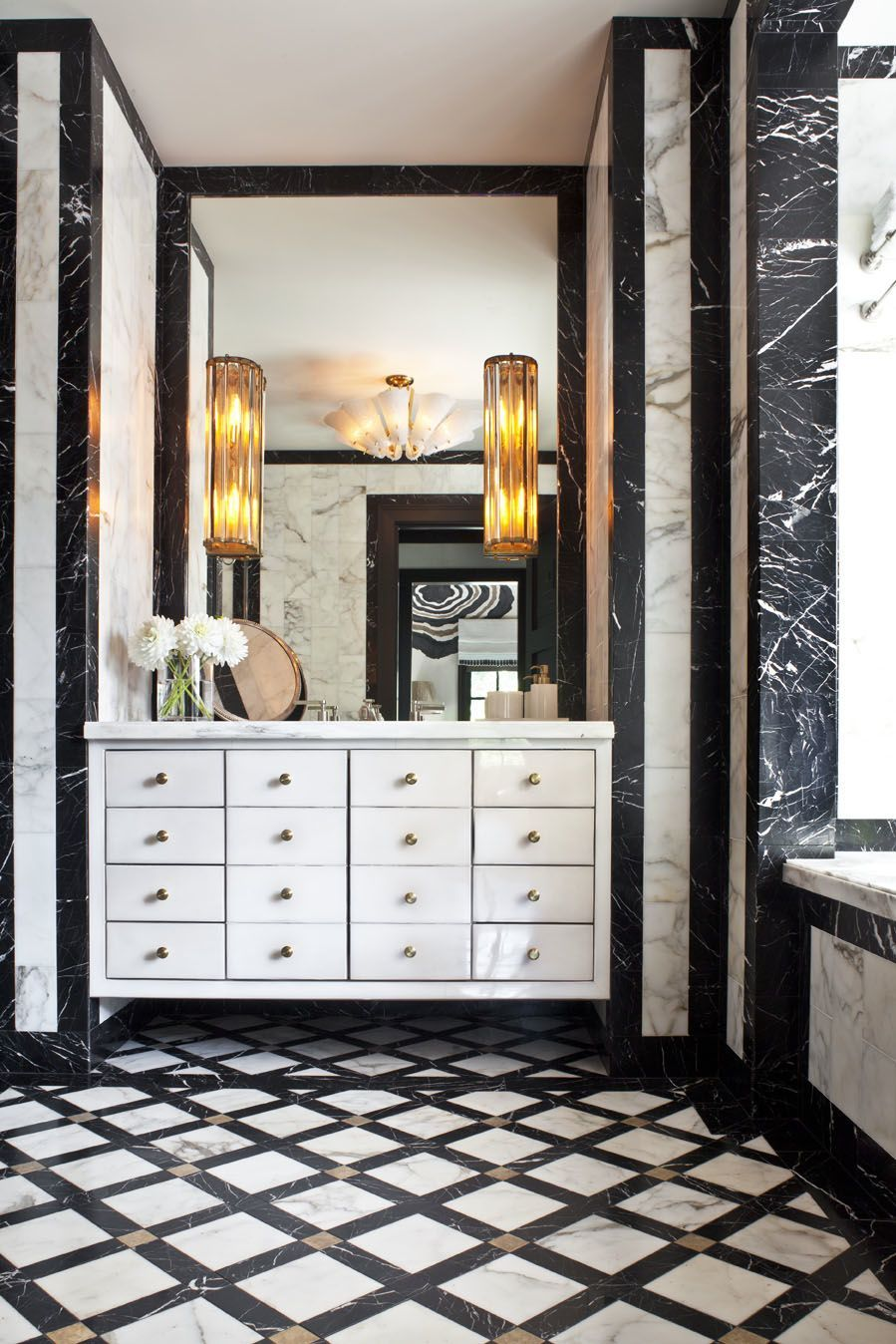 Powder room exquisite craftsmanship using the finest of marble materials cleverly conceived stunning