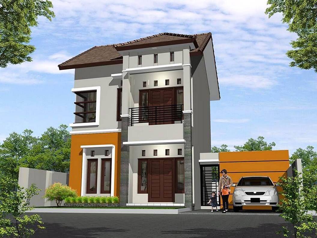 Rumah Minimalis 2 Lantai Sederhana Warna Orange Cokelat Desain