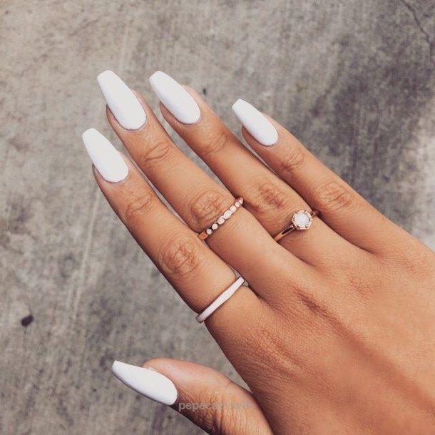 beauty, fashion, girly, glam, long nails, luxe, nail, nails, polish nails, rings, style, white nails, acril nails