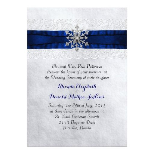 Elegant Jeweled Snowflake Wedding Invitation Winter wedding