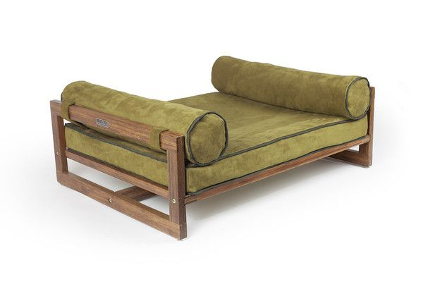 """The Aldo Pet Lounger. Bamboo frame, mattress lined with waterproof material to prevent accidental (actually, for my cats, it's more like deliberate) soaking, stain resistant ultra-suede removable cover in rust, graphite or olive green, side bolsters, non-skid rubber feet. I love the mid-century Scandinavian design. In two sizes up to about 40 lbs. I also love the way they size small for """"most cats"""" and medium for """"fat cats."""" I think medium ought to just about support my Fat Earl."""