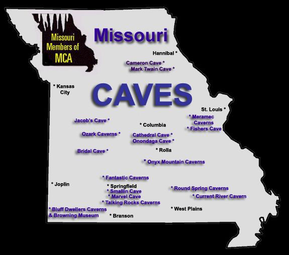 Missouri Caves Map Missouri cave tour Pinterest