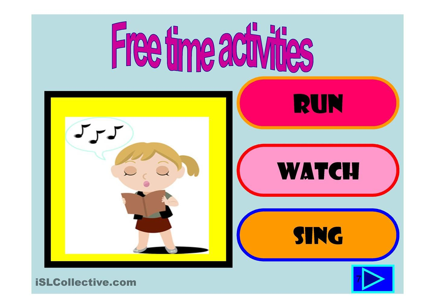 Free Time Activities Multiple Choice Activity