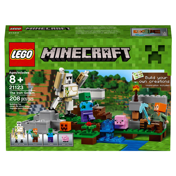 New Minifigure Custom Lego Iron Golem with Pig Character Minecraft Video Game