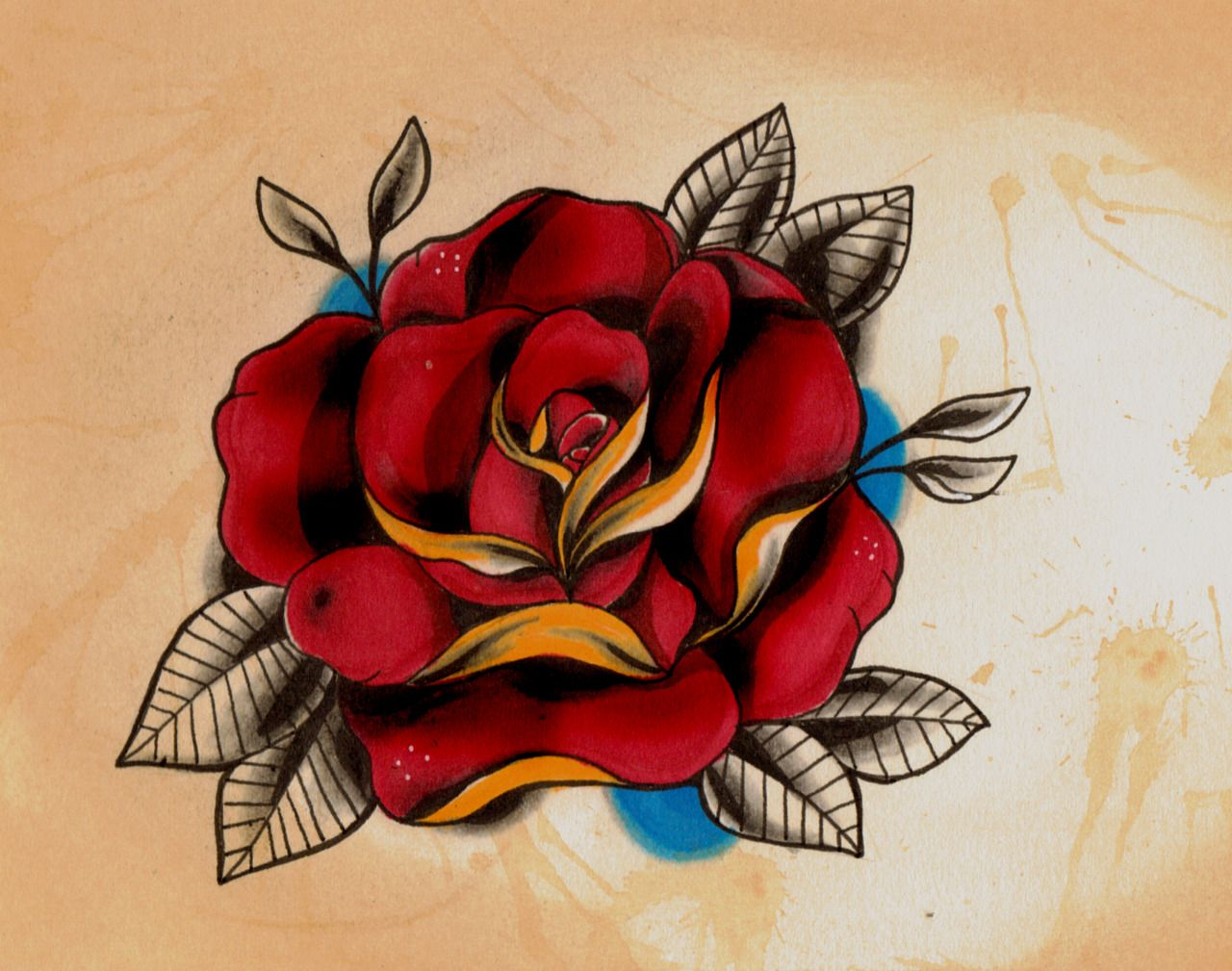 New school rose Old tattoo style Old school rose