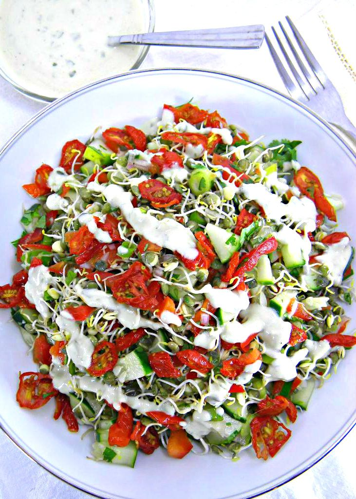 ADDICTED to VEGGIES: Mediterranean Sprouted Lentil Salad with Savory Yogurt Dressing