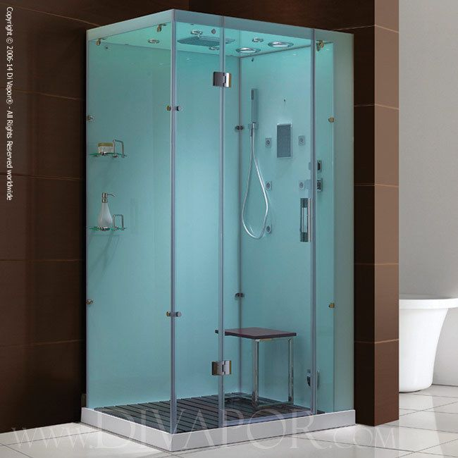 Di Vapor Venice Glass Rectangle Steam Shower Enclosure 1200 X 900 W/ Shower  Tray