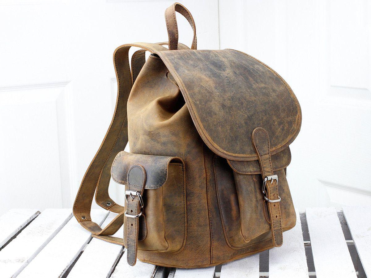 e20148fafa37 Scaramanga Mens Vintage Leather Boho Large Leather Backpack Style 14011