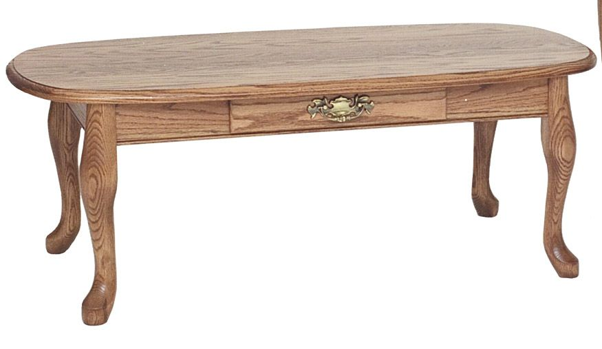 #6565 Queen Anne Http://www.theoakfurnitureshop.com/products/solid Oak Queen  Anne Coffee Table With Drawer 43/