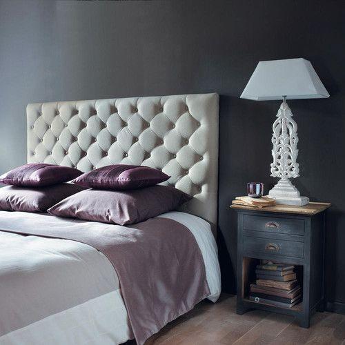 t te de lit capitonn e en lin l 160 cm lit capitonn. Black Bedroom Furniture Sets. Home Design Ideas