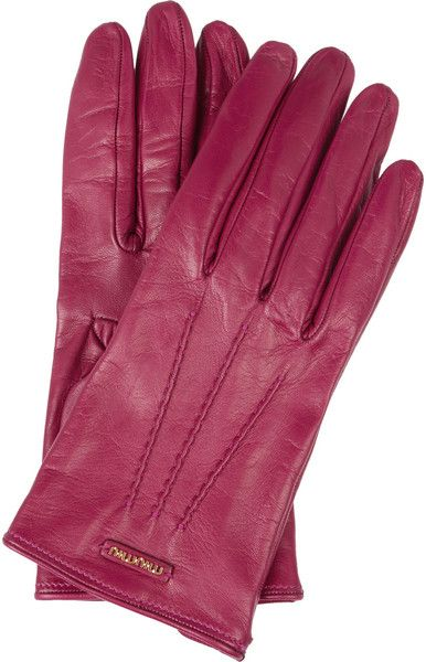 ba1b394bef57 MIU MIU Pink Leather Gloves - Lyst | MY HAUTE LYST in 2019 | Leather ...