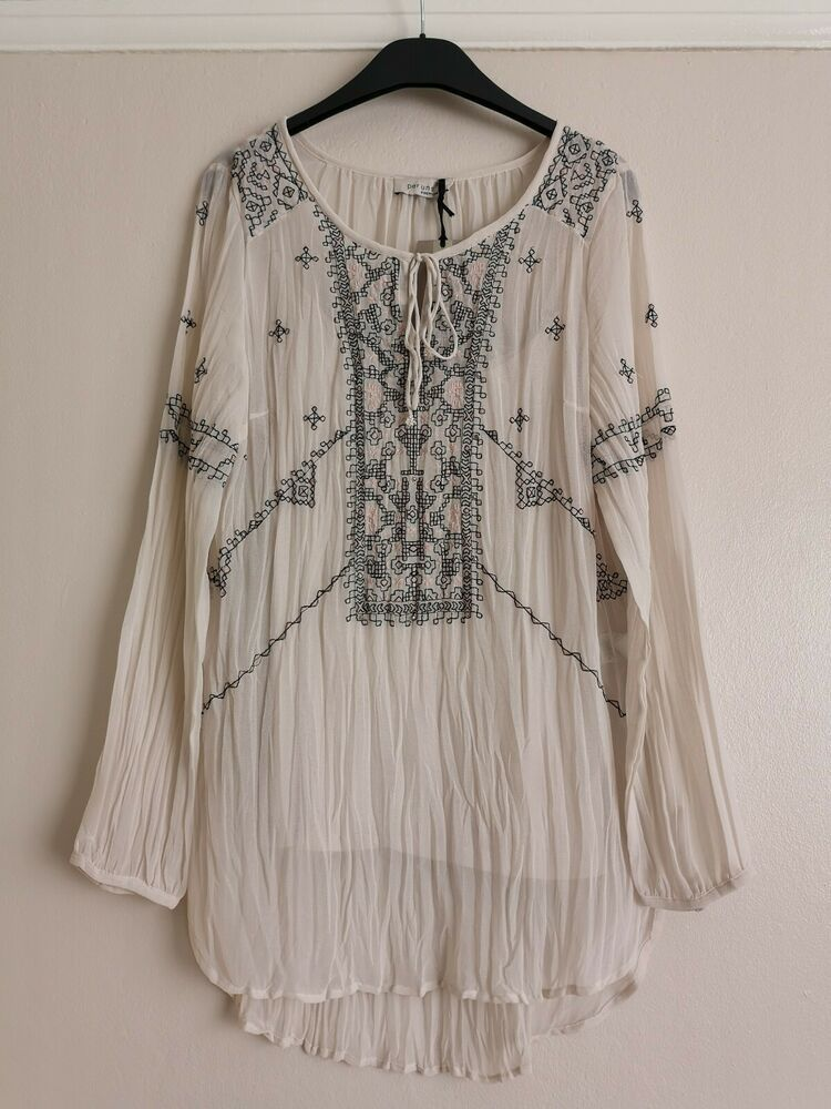 b6f5af469d39a5 BNWT Per Una Embroidered Boho Style Cream Crinkle Tunic Blouse Top Size 12  #fashion #