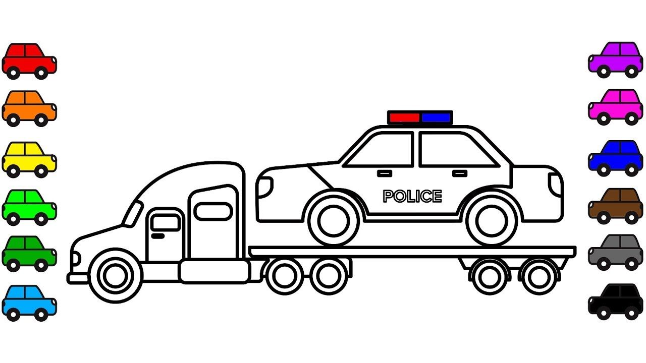 Police Car Carrier Truck Colouring Pages Learn Colors For Kids With Col Truck Coloring Pages Coloring For Kids Coloring Pages For Kids