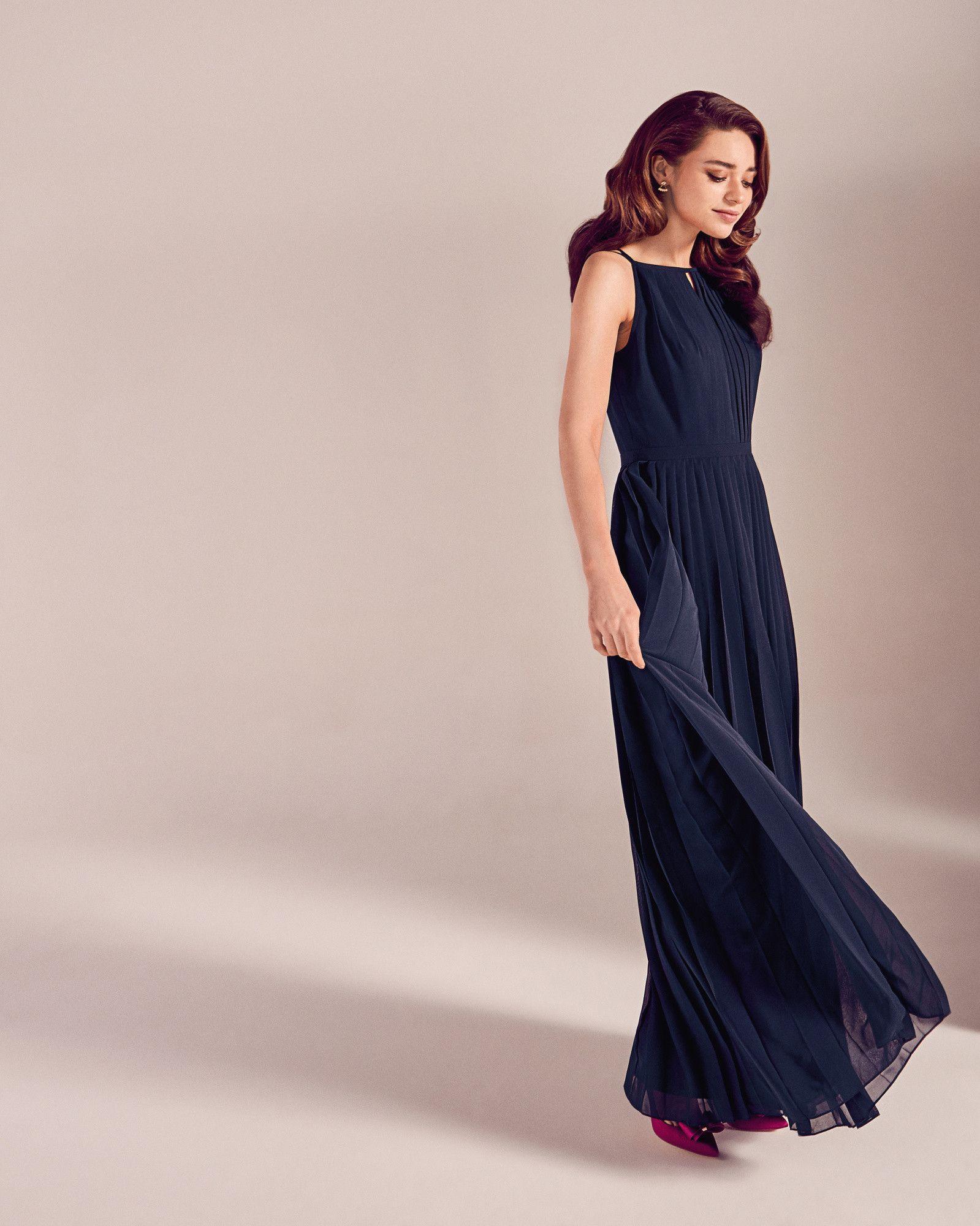 Robe longue plissée - Bleu foncé | PE17 Tie The Knot | Ted Baker FR
