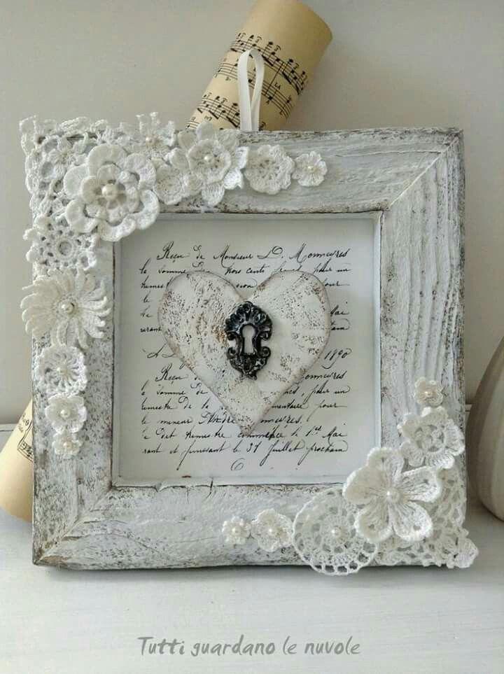 Shabby Chic Lace Embellished Frame #DIY #shabbychic #DSDecor | Craft ...