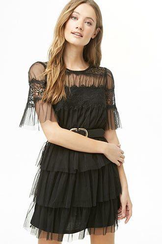 93311a5d37 Sheer Tiered-Ruffle Dress | Products | Dresses, Ruffle dress, Ruffles