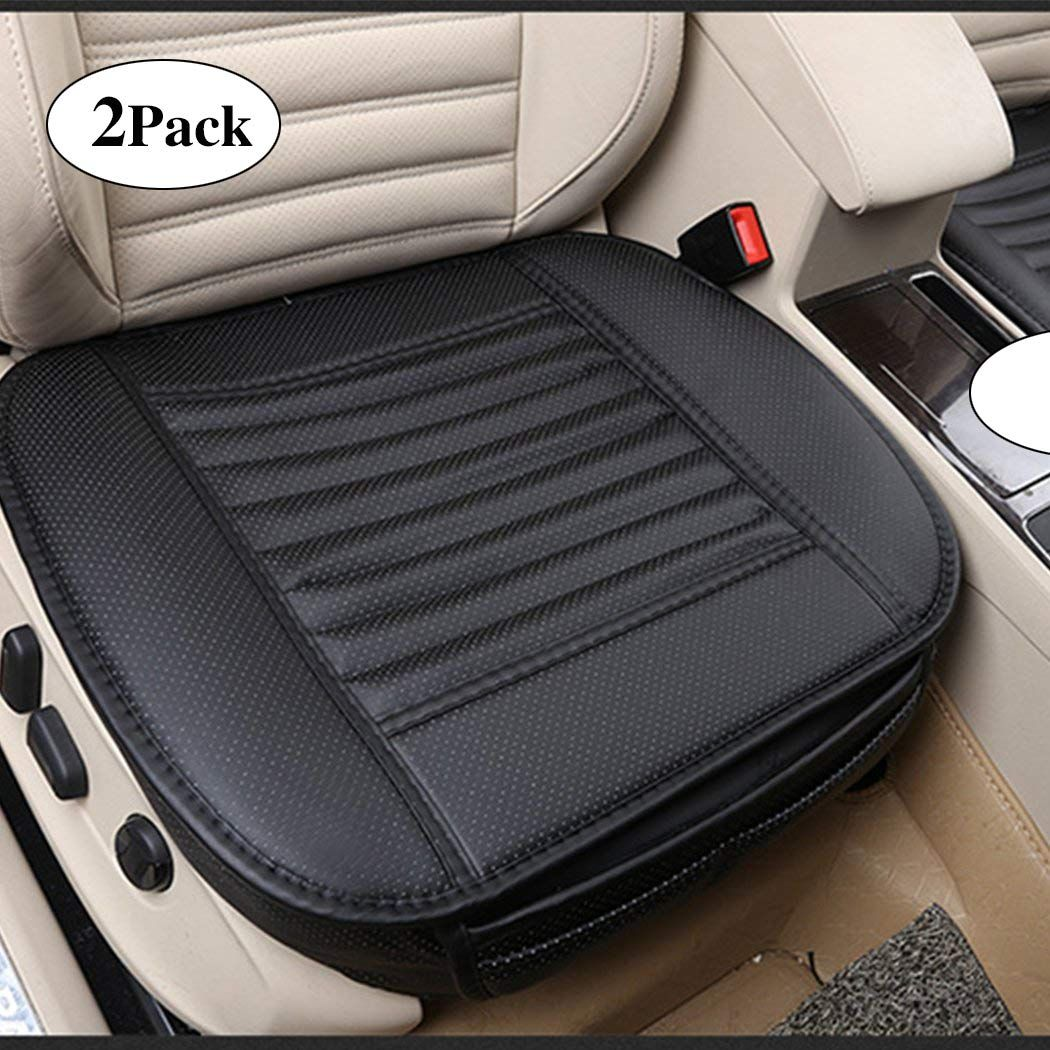 Sunny Color 2pc Edge Wrapping Car Front Seat Cushion Cover Pad Mat For Auto Supplies Office Chair With Pu Leather Car Front Seat Cushion Covers Bamboo Charcoal