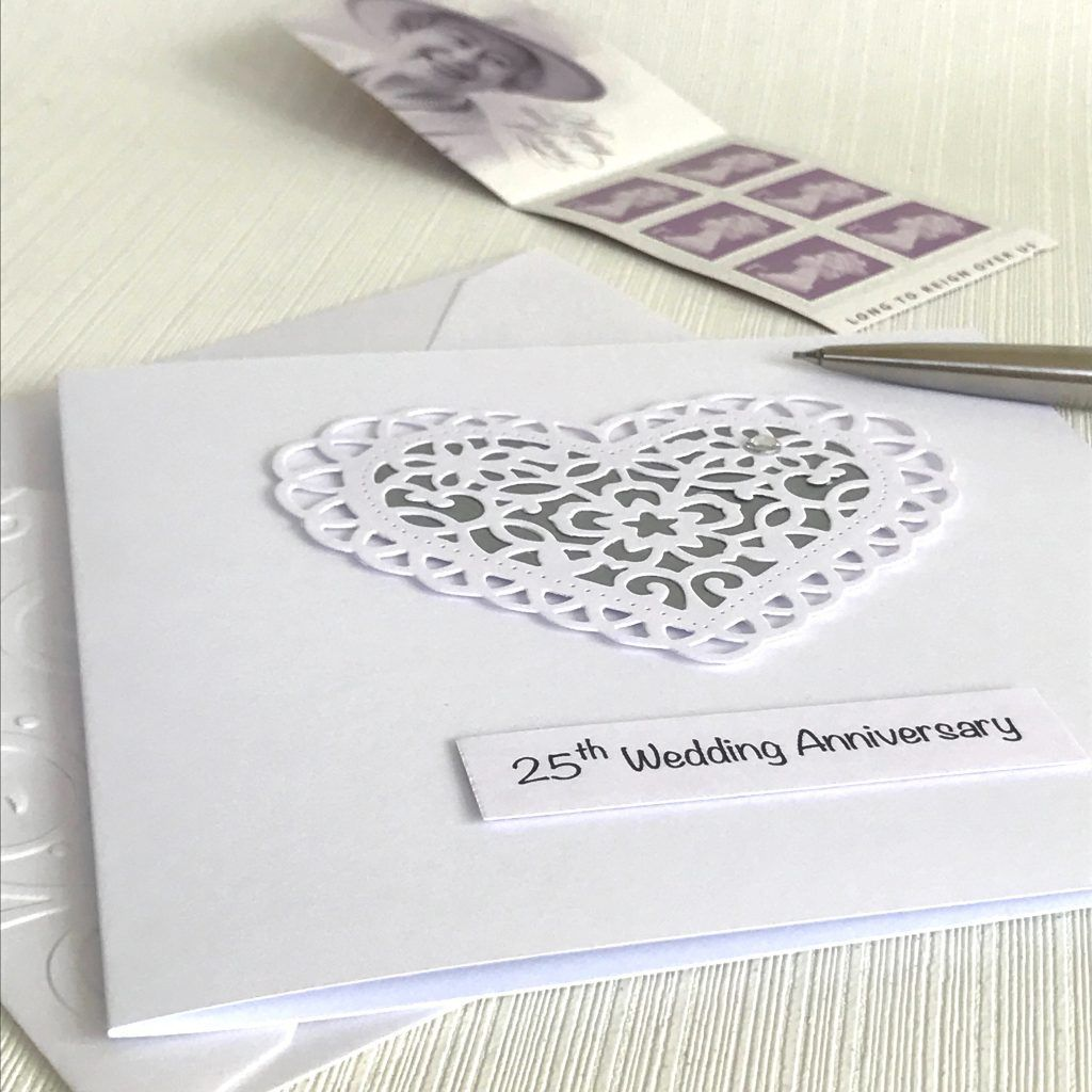 25th Wedding Anniversary Card With Paper Lace Heart Free Personalisation By Loo Wedding Anniversary Cards 25th Wedding Anniversary Silver Wedding Anniversary