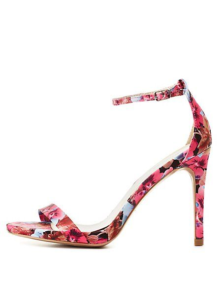 c09f757118c340 Qupid Floral Single Strap Heels by Charlotte Russe - Fuchsia
