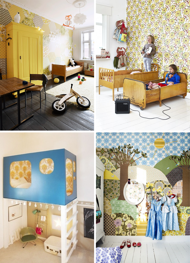 Vintage Wallpaper Kids Room Yellow