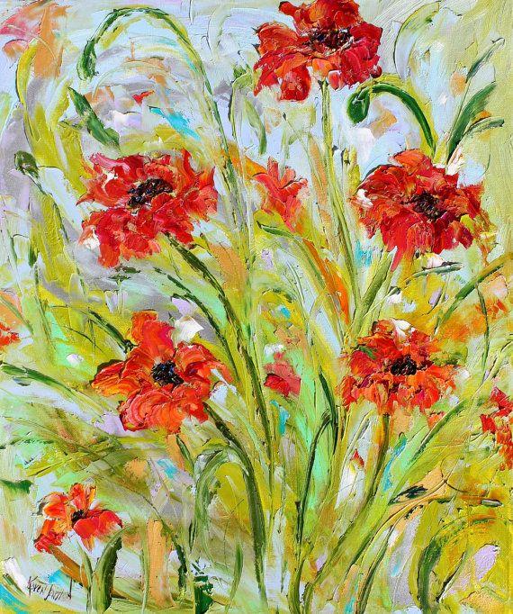 Original oil painting Poppy Dance - flowers on canvas by Karen Tarlton impressionism impasto palette knife fine art
