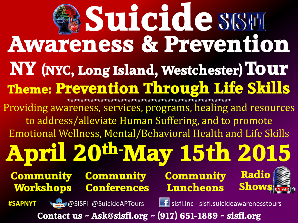 Hi @Grace_Durbin @JessicaDrown @AgainstSuicide @StandUp4Suicide Please help promote @SISFI's #Suicide Prevention Tour