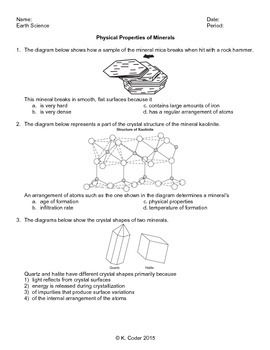 worksheet minerals physical properties editable with answers explained earth science. Black Bedroom Furniture Sets. Home Design Ideas