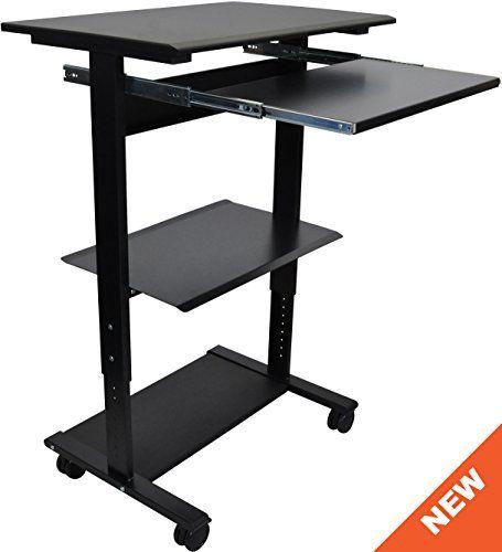 Mobile Adjustable Height Stand Up Workstation Black Amp Bl