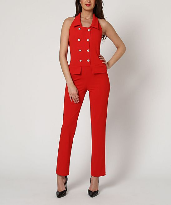0406824a6aa8 Red Military Button-Up Jumpsuit