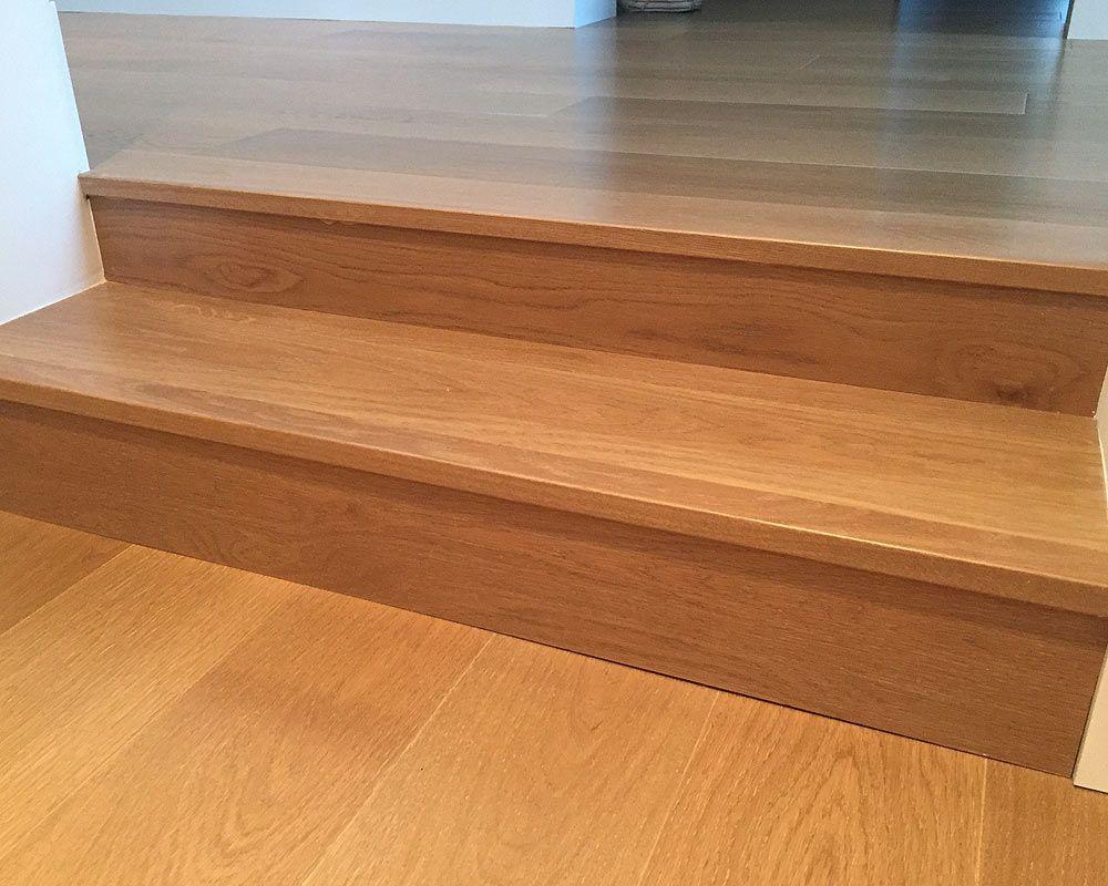 Custom Eased Edge Stair Treads Prefinished Hardwood Floors | Hardwood Floor Stair Treads | Wooden | Hand Scraped | Redwood | Pergo Floor | Laminate Flooring