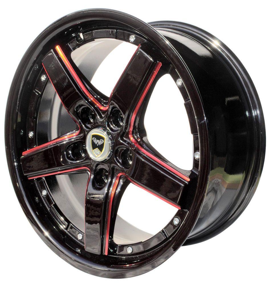 Weathertech floor mats brampton - 4 Gwg Wheels 18 Inch Black Red Drift 18x8 Rims Fits 5x110 Dodge Dart 2013