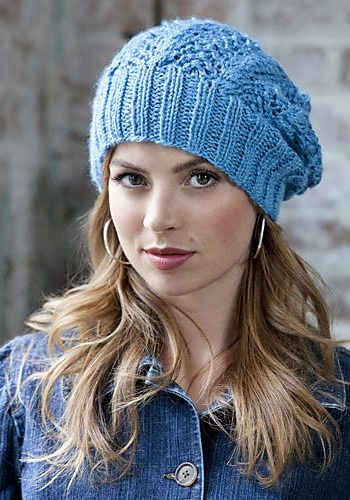 Lace slouch hat free knitting pattern.