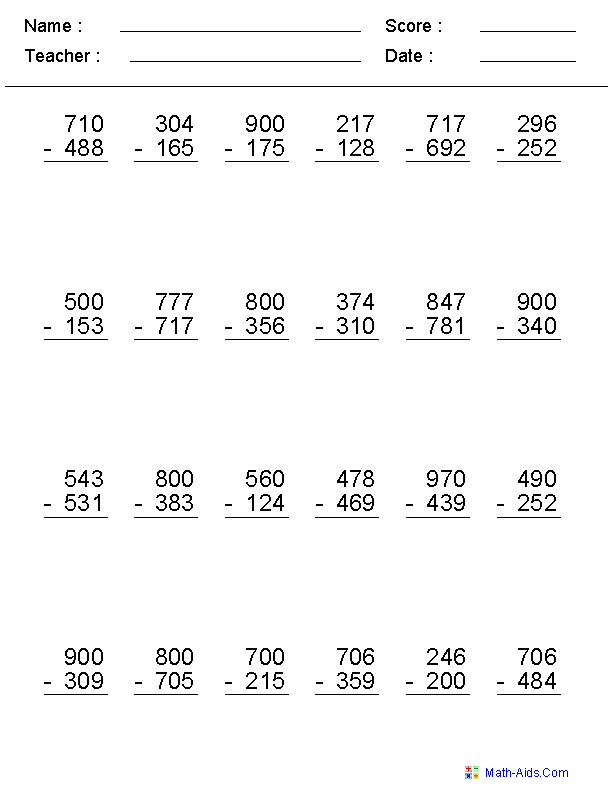 Subtraction Across Zero Worksheets  MathAidsCom