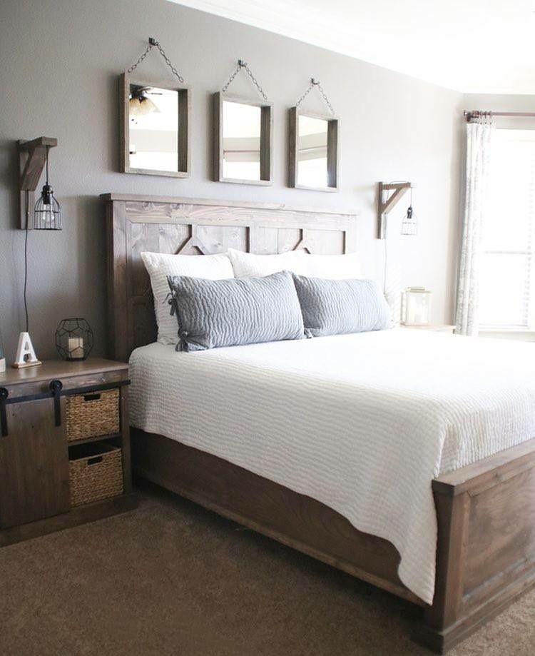 Innenarchitektur, Schlafzimmer, Einrichtung, Rustikales Zeichen, Rustikal  Modern, Bauernhaus Dekor, Selbstgebautes Schlafzimmer, Rustikale  Schlafzimmer Sets ...