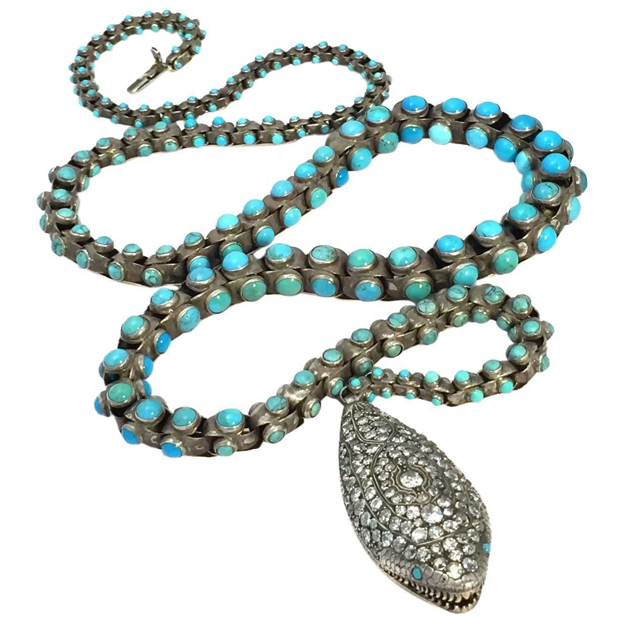 Victorian Turquoise & DIamond Snake Belt/Necklace  | From a unique collection of vintage rope necklaces at https://www.1stdibs.com/jewelry/necklaces/rope-necklaces/