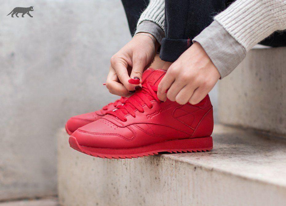 a1fff3e0f9f Reebok Classic Leather Ripple Mono  Clip  n  Trim  Pack (Scarlet)