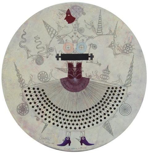 """CARLOS ESTEVEZ Conspiraciones Intimas, 2010 oil and pencil on canvas 36"""" diameter 606-9367"""