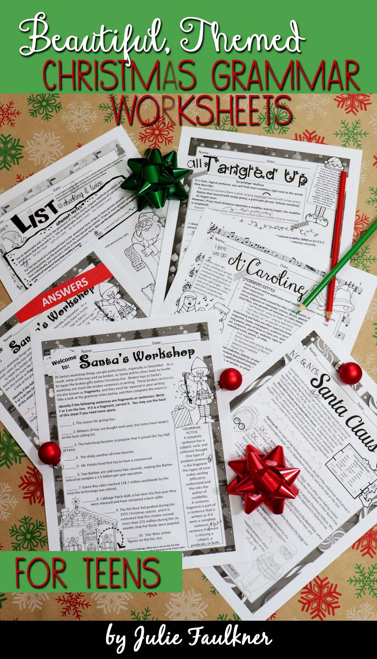 Christmas Grammar Worksheets No Prep Middle And High School