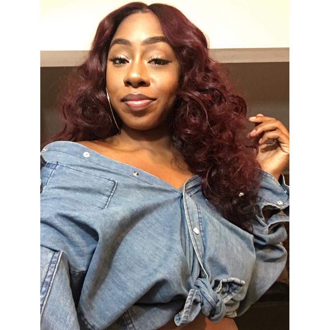 Burgundy red colored Brazilian Straight Hair sew in with ...