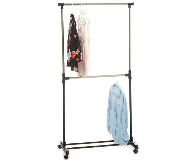 Home Essentials 2 Tier Rolling Garment Rack Rolling Garment Rack